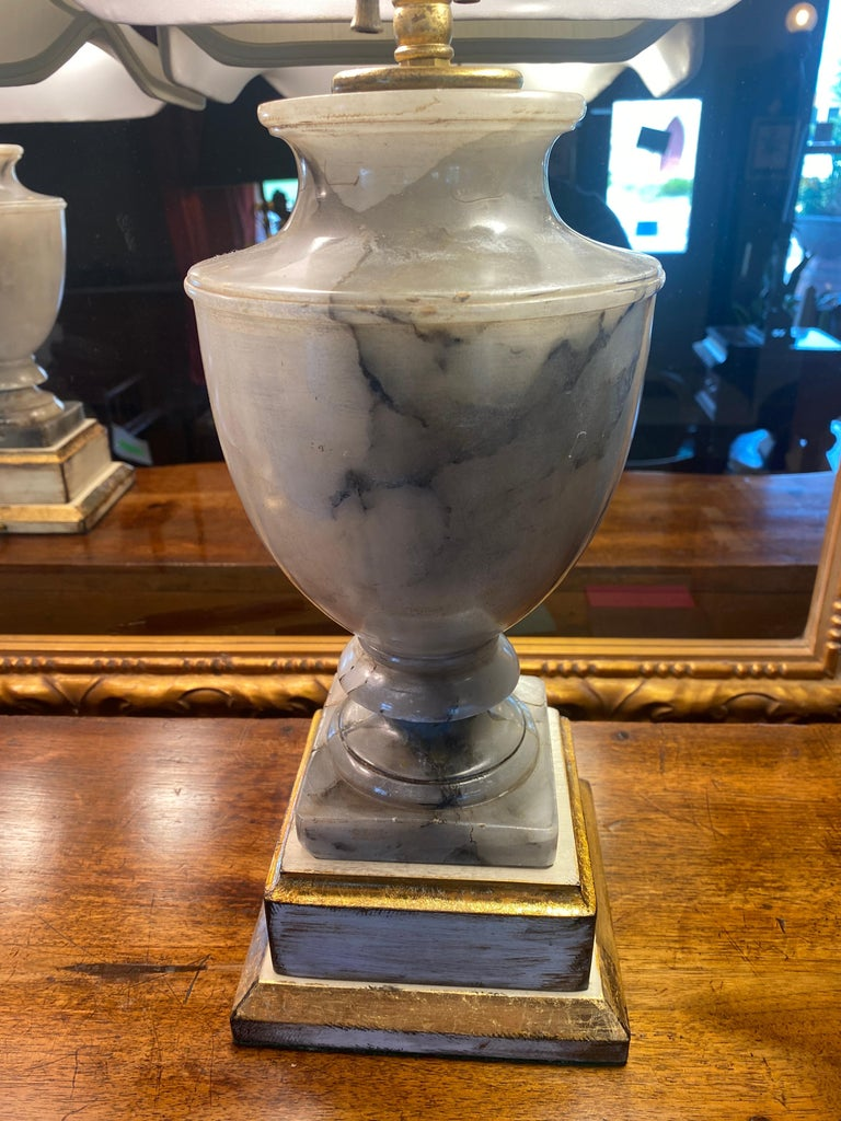Neoclassical Pair of NeoClassical Onyx Urn Form Table Lamps For Sale