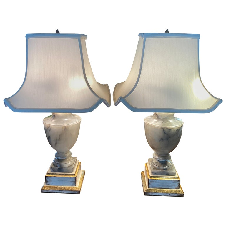 Pair of NeoClassical Onyx Urn Form Table Lamps For Sale