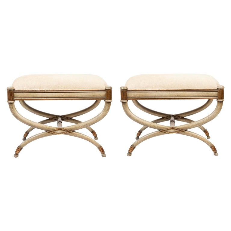 Pair of Neoclassical Painted Benches For Sale