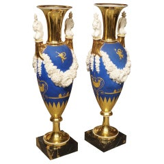 Pair of Neoclassical Paris Porcelain Vases in Royal French Blue, Early 1800s