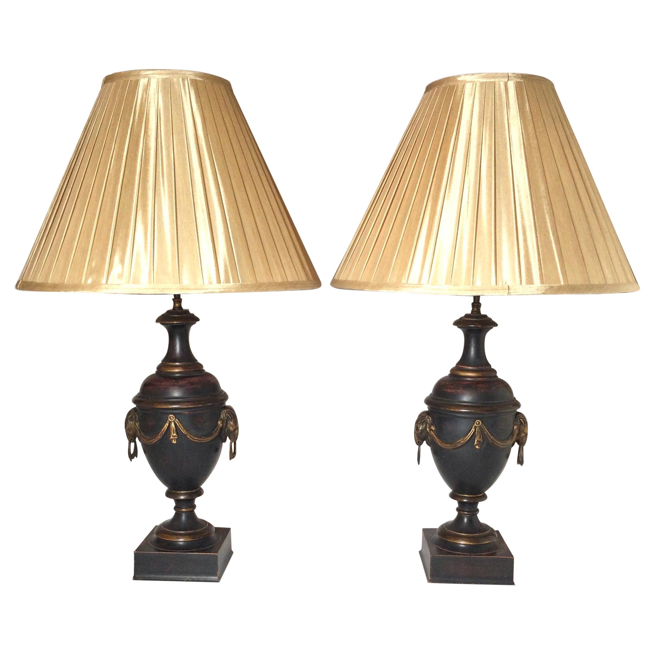 Pair of Neoclassical Patinated Urn Lamps