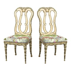 Pair of Neoclassical Pickled & Gilded Chairs with Tropical Foliate Fabric