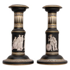 Pair of Neoclassical Pottery Candlesticks by Pratt
