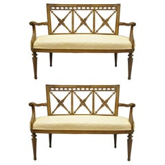 Pair of Neoclassical Regency Style Triple X-Form Arrow Back Settee Loveseats