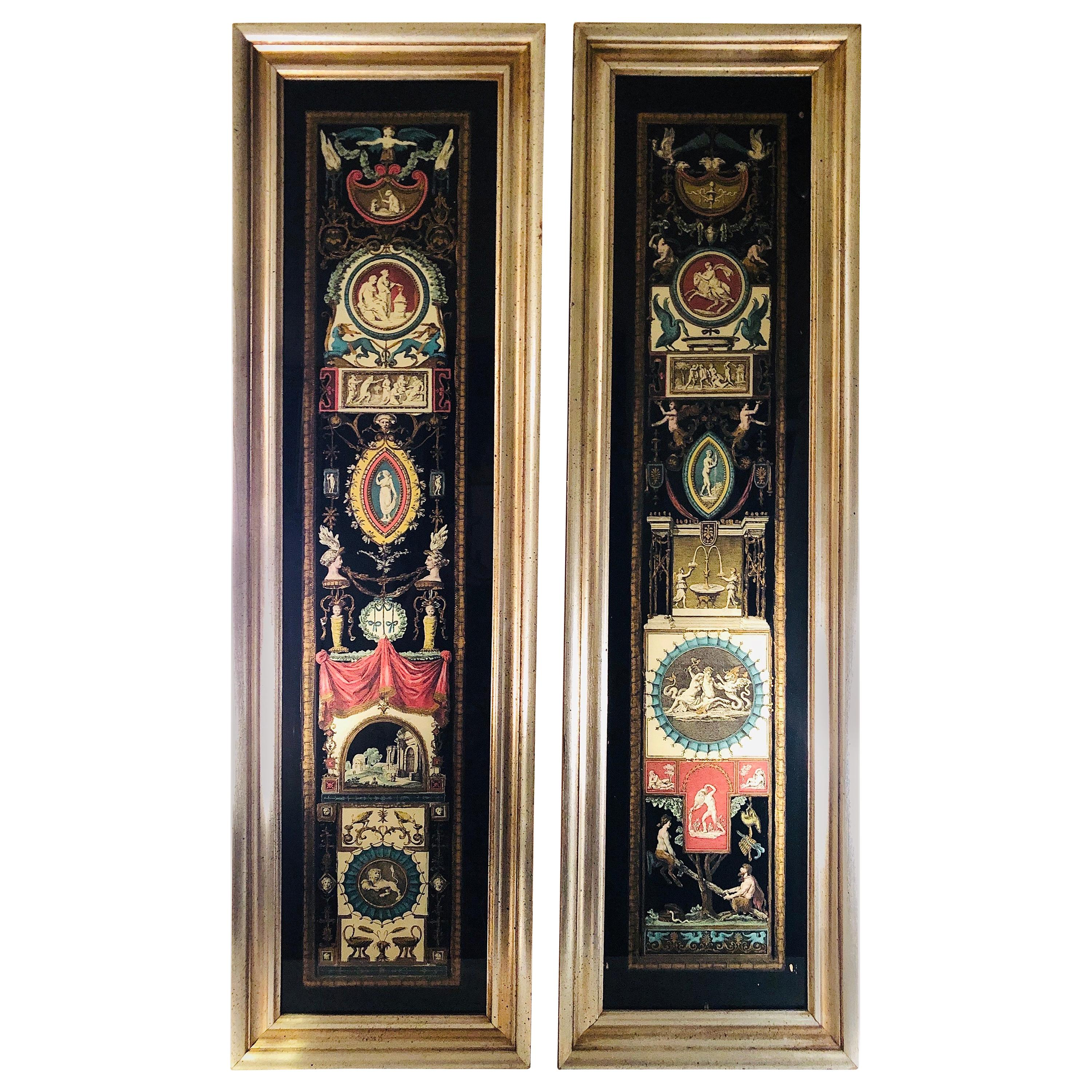 Pair of Neoclassical Reverse Paintings on Glass with Many Intricate Paintings