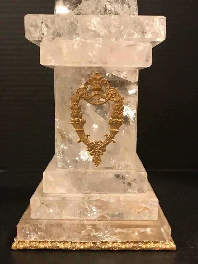 Pair of Neoclassical Rock Crystal Ormolu Mounted Obelisks For Sale 5
