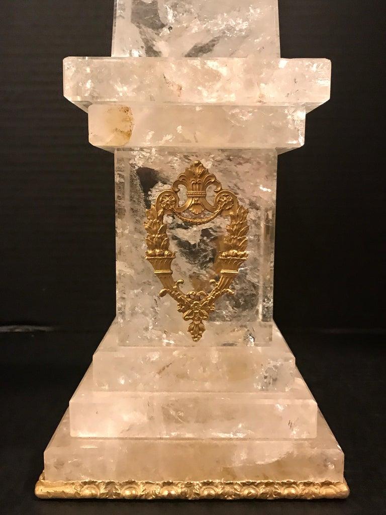 Pair of Neoclassical Rock Crystal Ormolu Mounted Obelisks For Sale 6