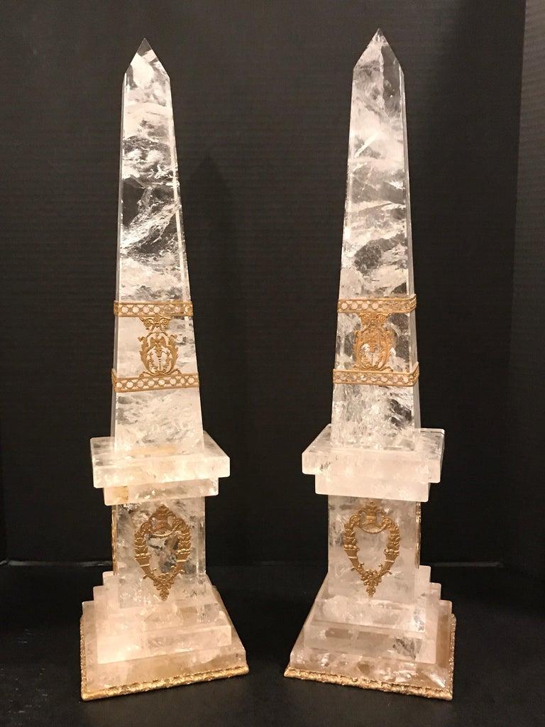 Pair of Neoclassical Rock Crystal Ormolu Mounted Obelisks For Sale 9