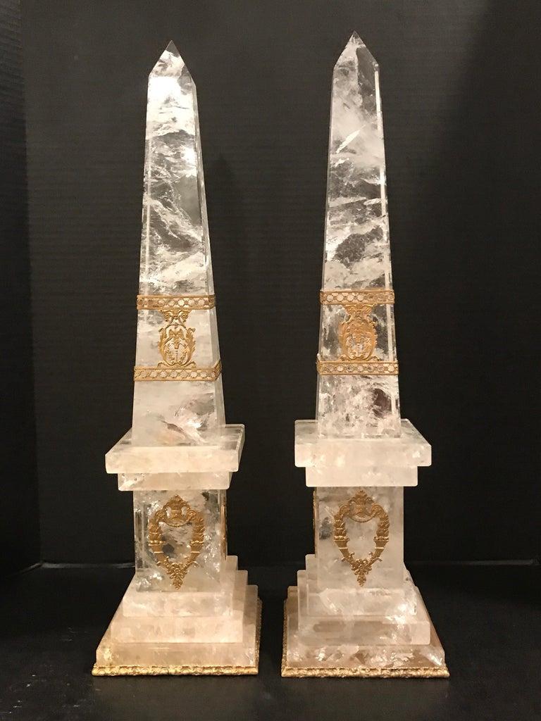 European Pair of Neoclassical Rock Crystal Ormolu Mounted Obelisks For Sale