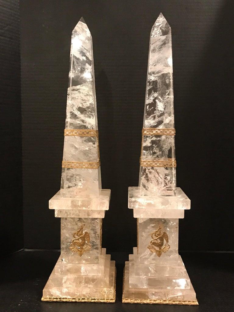 Pair of Neoclassical Rock Crystal Ormolu Mounted Obelisks In Good Condition For Sale In Atlanta, GA
