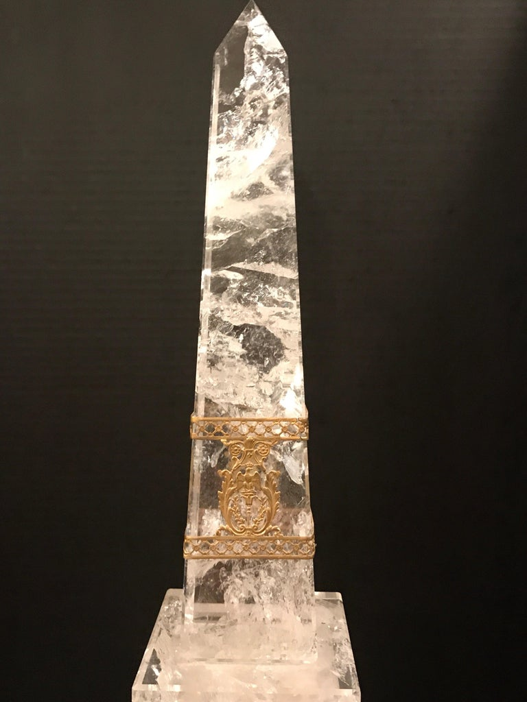 20th Century Pair of Neoclassical Rock Crystal Ormolu Mounted Obelisks For Sale