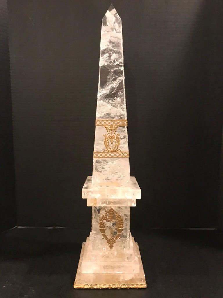 Pair of Neoclassical Rock Crystal Ormolu Mounted Obelisks For Sale 1
