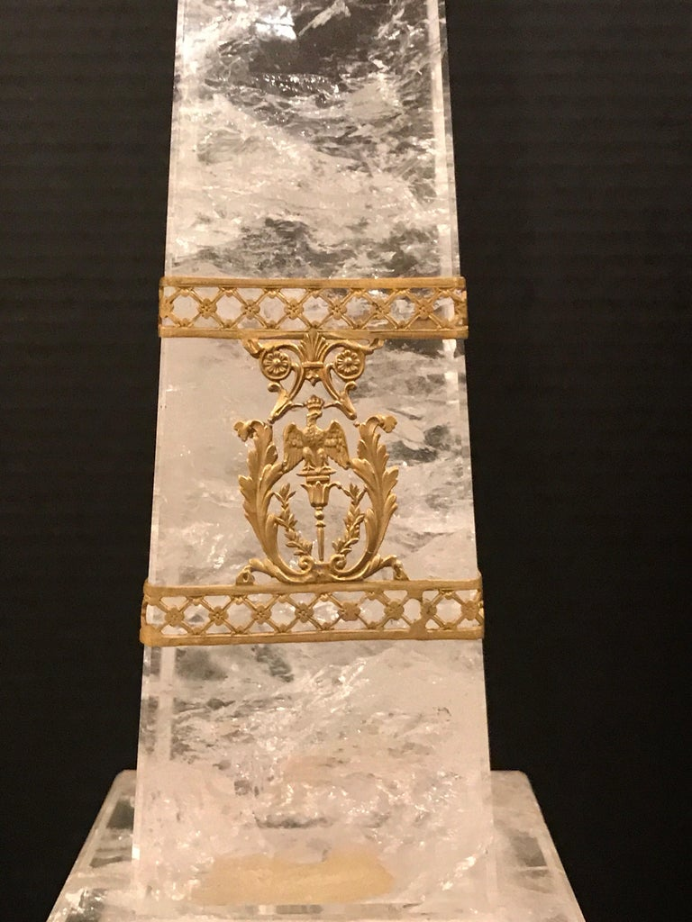Pair of Neoclassical Rock Crystal Ormolu Mounted Obelisks For Sale 2