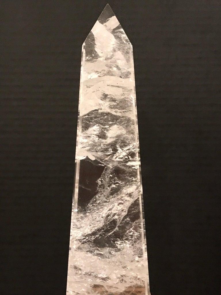 Pair of Neoclassical Rock Crystal Ormolu Mounted Obelisks For Sale 3
