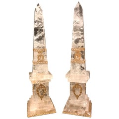 Pair of Neoclassical Rock Crystal Ormolu Mounted Obelisks