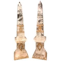Pair of Neoclassical Rock Crystal Ormolu Mounted Obelisks