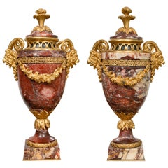 Pair of Neoclassical Rouge Marble Urns with Gilt Bronze Mounts