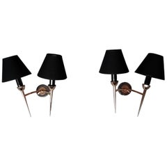 Pair of Neoclassical Sconces by Maison Lunel, France, 1950