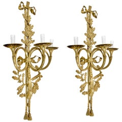 Pair of Neoclassical Solid Brass Three-Arm Trumpet French Wall Sconces, 1930s