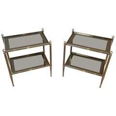 Pair of Neoclassical Stye Silvered Side Tables Attributed to Maison Jansen