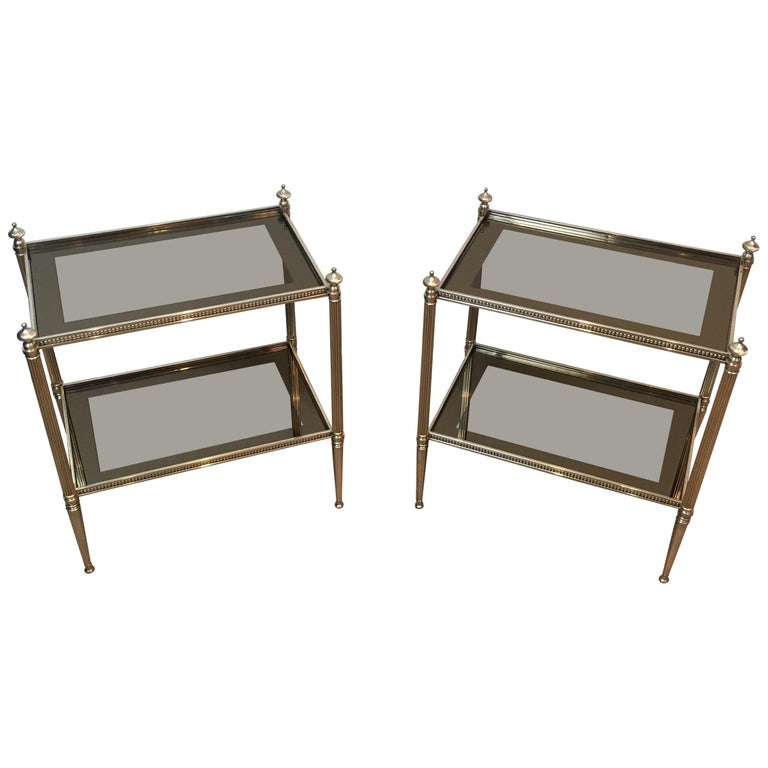 Pair of Neoclassical Stye Silvered Side Tables Attributed to Maison Jansen For Sale