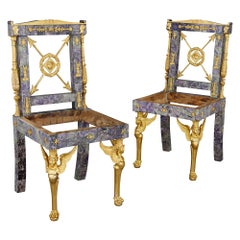 Pair of Neoclassical Style Amethyst and Gilt Bronze Chairs