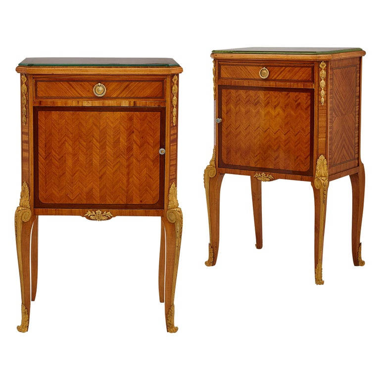 Pair of Neoclassical Style Bedside Cabinets Retailed by Au Gros Chêne For Sale