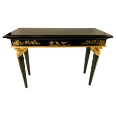 Pair of Neoclassical Style Black Lacquer Console Table with CarvedGiltwood Birds