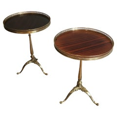 Pair of Neoclassical Style Brass and Mahogany Side Tables
