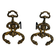 Pair of Neoclassical Style Bronze and Wrought IronAndirons with Lions Faces. F