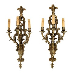 Pair of Neoclassical Style Bronze Three Arm Wall Sconce Lights, circa 1900