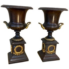Pair of Neoclassical Style Bronze Urns