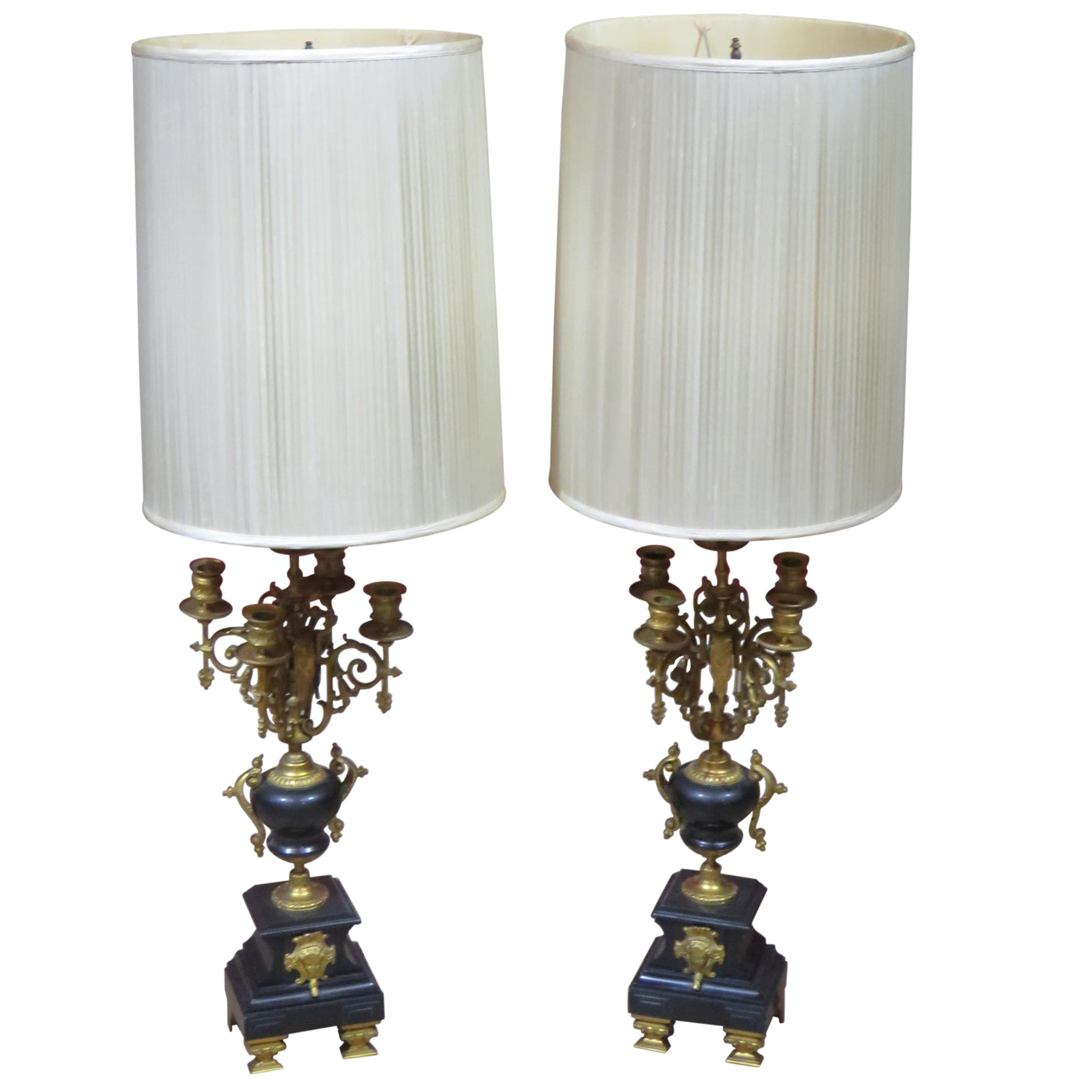 Pair of Bronze and Marble Neoclassical Style Candelabra Lamps