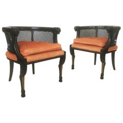 Pair of Neoclassical Style Caned Back Ram's Head Armchairs