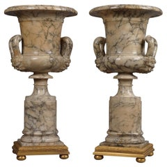 Pair of Neoclassical Style Carved Alabaster Vases