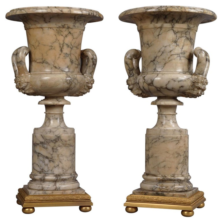 Pair of Neoclassical Style Carved Alabaster Vases For Sale