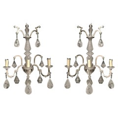 Pair of Neoclassical Style Carved Rock Crystal Sconces