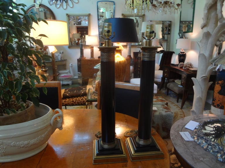 Pair of Neoclassical Style Tole Column Lamps 1