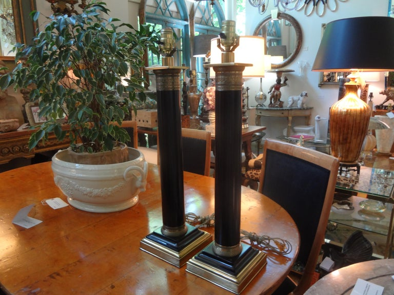 Pair of Neoclassical Style Tole Column Lamps 2