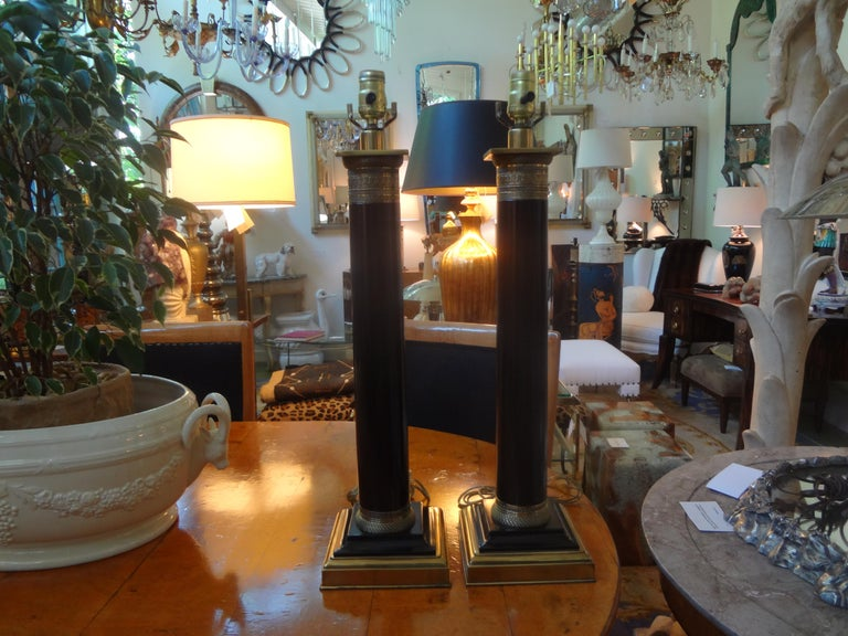 Pair of Neoclassical Style Tole Column Lamps 4