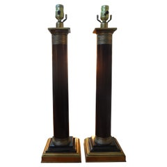 Pair of Neoclassical Style Column Lamps