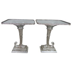 Pair of Neoclassical Style Cornucopia Silver Gilt Side Tables