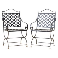 Pair of Neoclassical Style Curule Leg Iron Garden Chairs