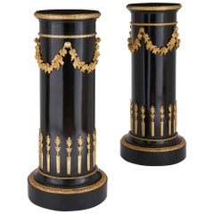 Pair of Neoclassical Style Gilt Bronze and Ebonized Wood Stands