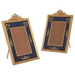 Pair of Neoclassical style gilt bronze and velvet photograph frames