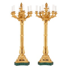 Pair of Neoclassical Style Gilt Bronze and Malachite Candelabra