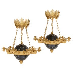 Pair of Neoclassical Style Gilt Bronze Chandeliers