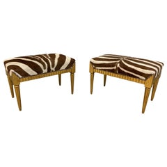 Pair of Neoclassical Style Giltwood Benches with Zebra Hide Seats