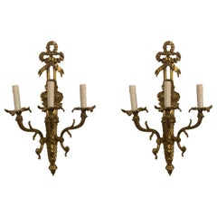Pair of Neoclassical Style Gold Bronze Wall Sconces