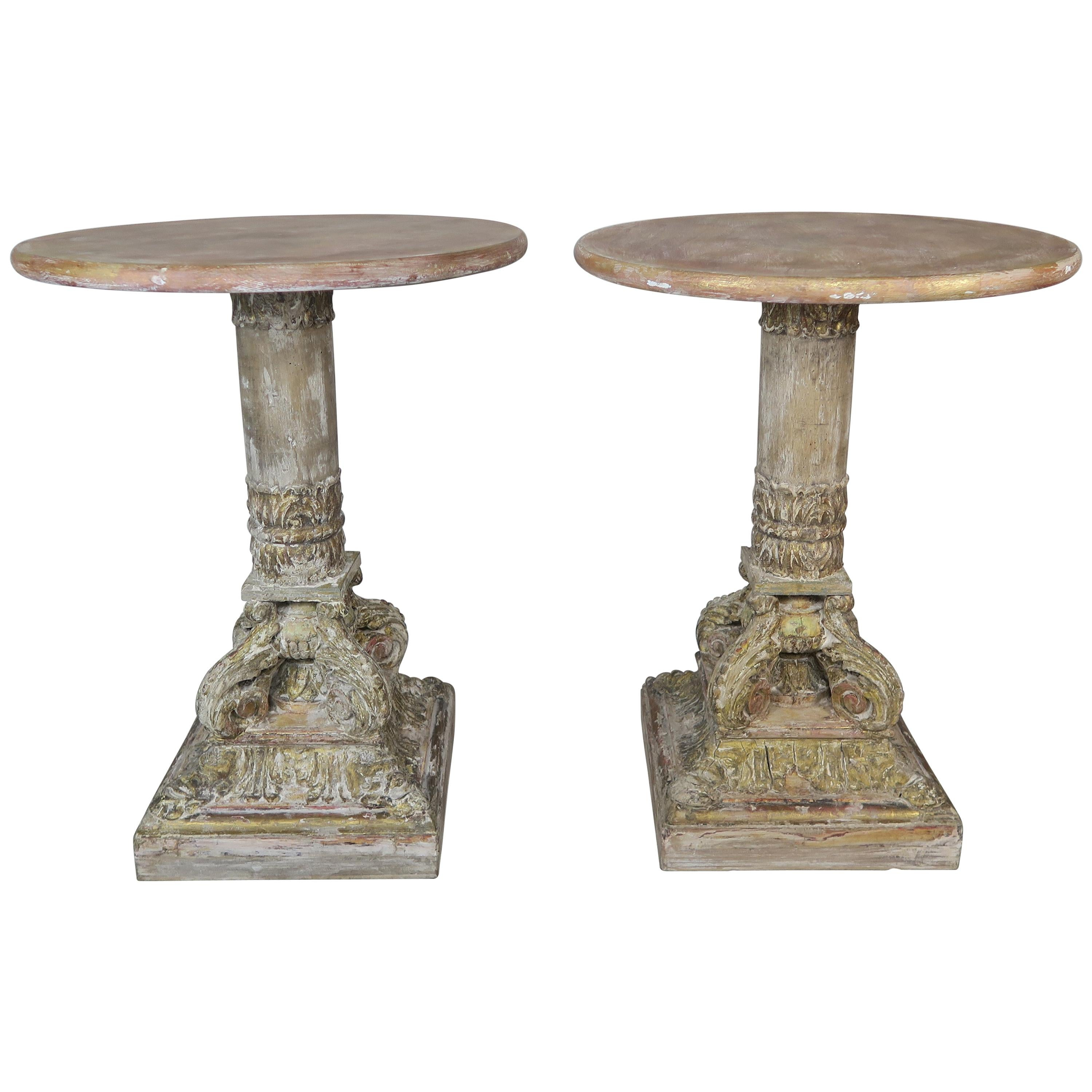Pair of Neoclassical Style Italian Painted Tables